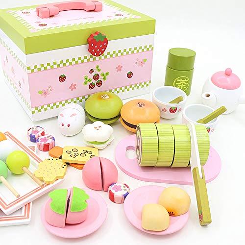 SXPC Baby Spielzeug Erdbeer Simulation Tee Cut Set Kind Essen Küche Holzspielzeug Dessert Kuchen Rollenspiel Geburtstagsgeschenk