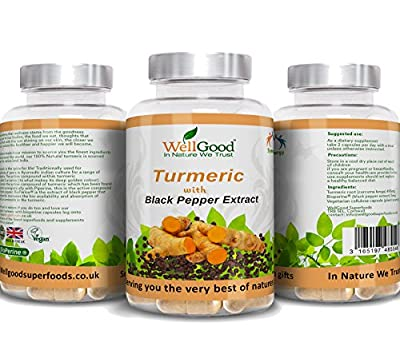 Turmeric with Black Pepper Extract Bioperine ® Capsules | Vegetarian capsules | Additive free 100% Pure | Natural Piperine and Curcumin | Natures Best Anti-Inflammatory