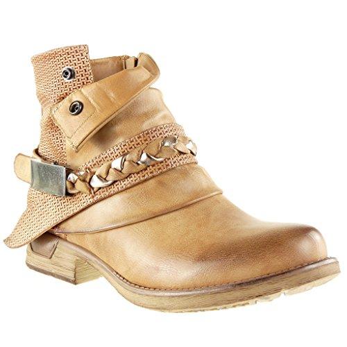 Angkorly Damen Schuhe Stiefeletten - Reitstiefel - Kavalier - Bi-Material - Gesteppt Schuhe - Knoten - Camouflage Blockabsatz 3 cm - Camel F1059 T 40 (Schuhe Gesteppte)