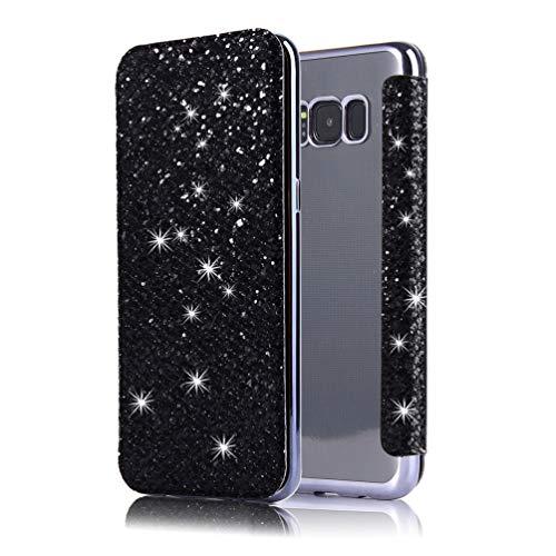 Coollee Coque Galaxy S8 Paillette Bling Glitter PU Cuir Wallet Flip Cover avec Transparent Souple TPU Silicone Bumper Back Case Ultra Slim Fonction Stand et Porte Carte Antichoc Case Cover, Noir