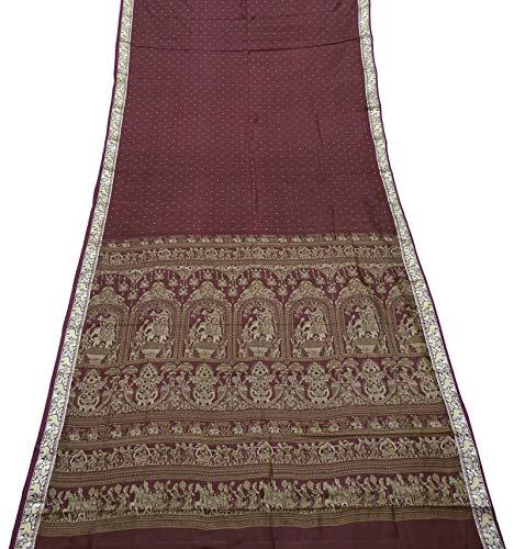PEEGLI Indian Vintage Poly Satin Sari Gewebtes Kleid Kastanienbraun Ethnische Frauen Traditionell Saree DIY Nähen Glänzendes Gewebe 5 Yd -