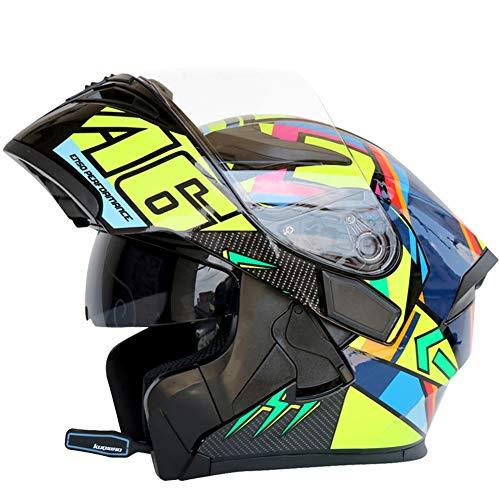 LYJNBB Caschi integrali Moto Bluetooth, modulari apribili Dual Visor Anti-Fog Casco per Adulti Motocross, Microfono con Altoparlante Incorporato per la Risposta Automatica, Certificazione DOT,Burst,L