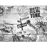 Fototapeten Holzoptik New York 352 x 250 cm - Vlies Wand Tapete Wohnzimmer Schlafzimmer Büro Flur Dekoration Wandbilder XXL Moderne Wanddeko - 100% MADE IN GERMANY - 9369011c