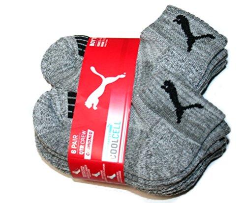Puma CoolCell 6 Pair Quarter Crew Cushioned Boy's Socks, Gray (Sock Size: 5-6.5, Shoe Size: 4-8.5)