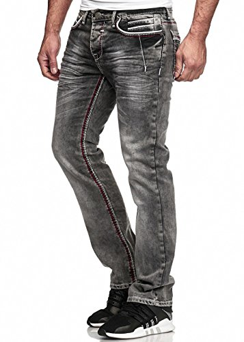 Code47 Herren Jeans Hose Washed Straight Cut Regular Stretch Dark Grey/Blue W29-W38 5056 Dunkelgrau W38 L32