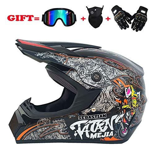 Goldt1 Full Face Motocross Helm Road Off-Road Racing Helm für Männer und Frauen mit winddichter Halbmaske und Reithandschuhen mit harten Schalen - großer Helm mit Vollhelm Anti-Fog (Size : S) -