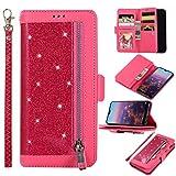 Edauto Handyhülle für Huawei P20 Lite Hülle Glitter Diamant Flip Case Tasche Magnetisch Handytasche Kartenfächer Ständer Schutzhülle Reißverschlusstasche Handyschale Rose rot