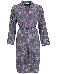 Cyberjammies 3252 Women's Louisa Grey Floral Print Cotton and Modal Dressing Gown Loungewear Bath Robe Robe