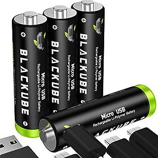 Blackube AA Wiederaufladbarer Akku 1.5V/1875mWh- 2 Stunden USB Aufladung- Lithiumion Batterie- Kein Gedächtniseffekt 1000+ Zyklen (4 Stück