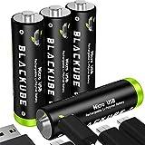 Piles Rechargeables Blackube Micro USB - Pile USB au Lithium AA Accu prête à l'emploi - 1.5V 1250mAh - Protection de l'environnement Rechargeable sans Effet de mémoire, Faible Auto-décharge