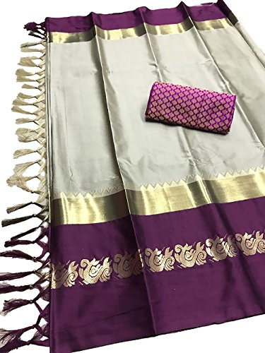 Expert E-commerce Services Cotton Silk Saree (EES-AU-13_Grey & Purple_Free Size)