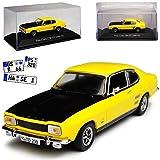 alles-meine GmbH Ford Capri GT 1700 Coupe Gelb 1. Generation 1968-1973 mit Sockel und Vitrine 1/43 Atlas Modell Auto mit individiuellem Wunschkennzeichen