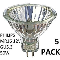 Philips 5Pack halogène 12V 50W MR16 GU5.3 36D 4000Hrs Dimmable halogène dichroïque 58845100