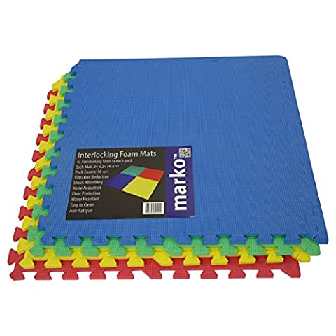 48 SQ FT Interlocking EVA Soft Foam Exercise Yoga Gym Floor Mats Play Area Multicoloured