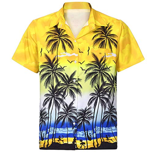 kolila Hawaiian Shirts Aloha Herren Damen Regular-fit Beach Camp Palm Tree Kurzarm Button Down Bluse Oberteile Oberteile mit Tasche - Schneiden Schwarzes Rohr