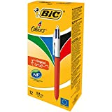 BIC 4-Farb-Druckkugelschreiber Fine | 4 in 1 Kugelschreiber | Rot, Blau, Schwarz und Grün | Dokumentenecht | Nachfüllbar | Strichstärke 0,35mm | Stifte Set mit 12 Mehrfarbenstiften