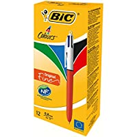 Bic Stylo à bille rétractable 4 couleurs Pointe Fine Corps Orange/Blanc - Lot de 12