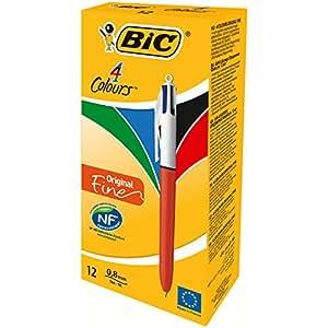 BIC 4 Couleurs Original Stylos-bille Pointe Fine - Boîte de 12