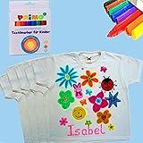 German Trendseller®- 5 x Kinder T-Shirts + Gratis: 8 x Bunte Textilstifte ┃ Größe: 116 (ca. 5 - 8 Jahre) ┃ Sonderpreis