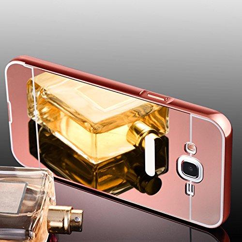 Samsung Galaxy E7 Hülle, Handyhülle [Metall Bumper Alu Case 2 in 1] Schutzhülle für Samsung Galaxy E7 Back Cover Spiegel Rückschale [Pink]