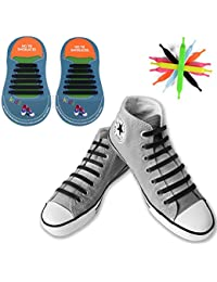 [12 Piezas] No Tie Cordones de Zapatos, Canwn Impermeables Cordones Elásticos para Zapatillas para Niños Atletismo Atlética de Silicona Elástico Cordones con Multicolor de los Zapatos del Tablero Sneaker Boots(Negro)