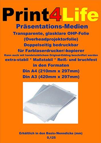 Preisvergleich Produktbild 100 Blatt A4 Glasklare transparente beidseitig bedruckbare Reiß- und bruchfeste Overheadfolie (OHP Transparentfolie Transparentpapier) nur mit Farblaserdrucker, s/w Laserdrucker und Kopierer für eindrucksvolle Präsentationen mit Overheadprojektoren in Farbe