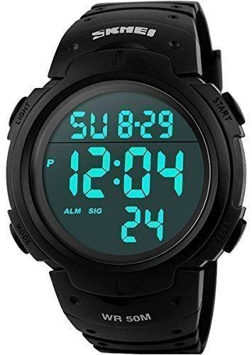 Cakcity Militär-Herren-Armbanduhr, sportliches, schlichtes Design, digitales LED-Display, große Ziffern, wasserdicht, Schwarz