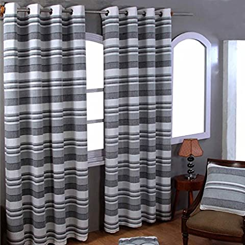 Homescapes Grey Black White Eyelet Curtain Pair 167cm (66
