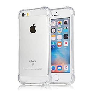 YOFO Rubber Soft Clear Ultra Thin Shockproof Back Cover for iPhone 5 /5S ((Transparent))
