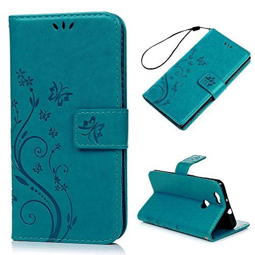YOKIRIN Huawei Nova Hülle Huawei Nova Case Cover PU Leder Schutzhülle Ledercase Brieftasche Kunstlederhülle Flipcase Klapptasche Kartenfächer Handyhülle Tasche Handycase Schmetterling Blumen Blau