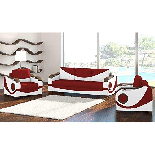 JUSTyou Puerto Wohnzimmerset Polstergarnitur Polstermöbel Kunstleder Strukturstoff (3+1+1) Weiß Rot