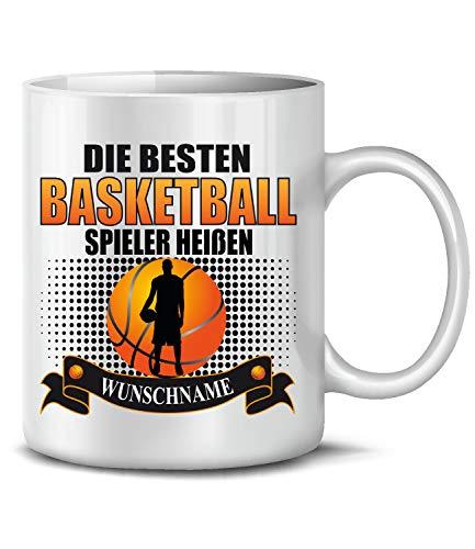 Golebros Die beesten Basketball Spieler heißen Wunschname 6318 Tasse Becher Männer Junge Deko Geschenkidee Geschenk Geburtagsgeschenk Geburtstag Geschirr Weiss