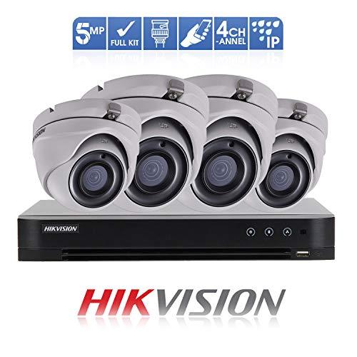 HIKVISION Überwachungssystem (5 MP, 4 K DVR 4 Kanal (1 TB) H.265 + HIK 5 MP 2,8 mm (4X) Kamera Outdoor Nachtsicht-Kit TVI/AHD/CVI/CVBS DS-7204HUHI-K1 DS-2CE56H0T-ITMF OSD-Menü, 2D DNR, DWDR Toshiba Nvr
