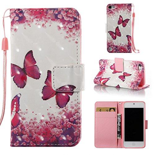 Cozy Hut iPod Touch 5/6 Hülle Slim Fit PU Leder Hülle Flip Wallet Magnetverschluss Case mit Standfunktion und Kartenfächer Schutzhülle für iPod Touch 5/6 - Rose roter Schmetterling Rot Ipod Touch