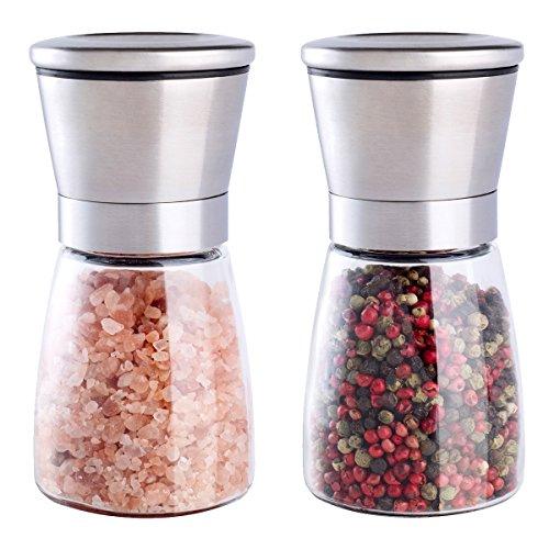 ModerneKüche Salz und Pfeffermühle - Gewürzmühlen mit verstellbarer Grobheit - gebürsteter Edelstahl,180ml 2x Pack