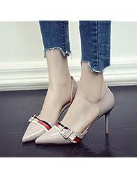 GAOLIM Zapatos De Tacón Negro Con La Adolescente Hueco De Punta Fina Solo Zapatos Primavera Verano