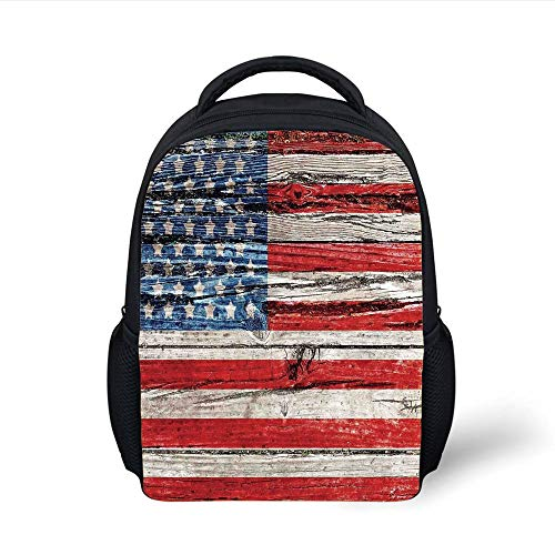 Kids School Backpack Rustic American USA Flag,Fourth July Independence Day Painted Wooden Panel Wall Looking Image Freedom, Plain Bookbag Travel Daypack