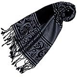 Lorenzo Cana Eleganter jacquard gewebter Schal Tuch Anthrazit Grau Schwarz Schaltuch gewebt 32 cm x 180 cm