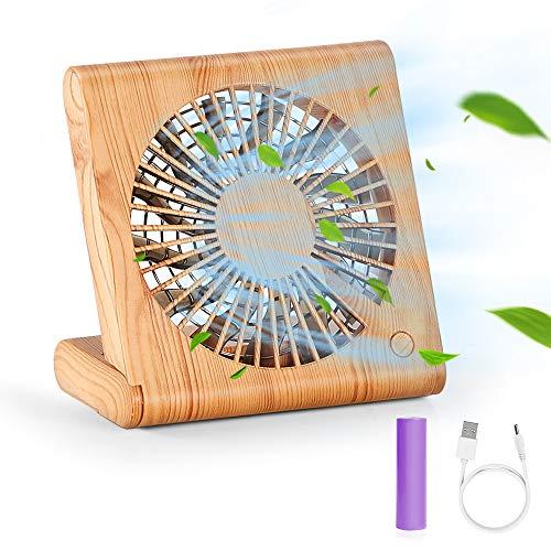 Hianjoo Ventiladores de Sobremesa, Mini Ventilador USB Grano de Madera Silencioso Ajustable Mesa Ventilador para Home Office y Cuaderno de Viaje con 3 velocidades, Marrón