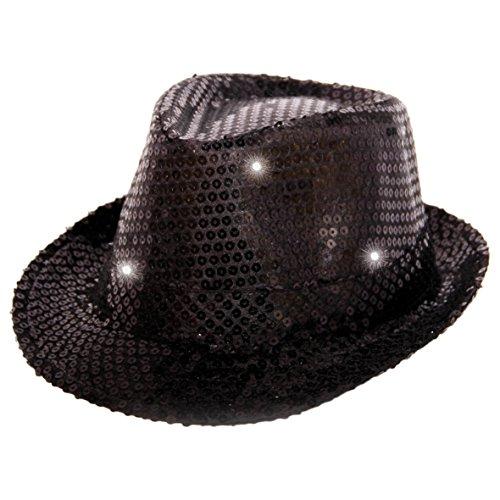 Folat 24070 Tribly Party Hut mit Pailletten und LED Beleuchtung, Unisex-Erwachsene, Schwarz, Einheitsgröße