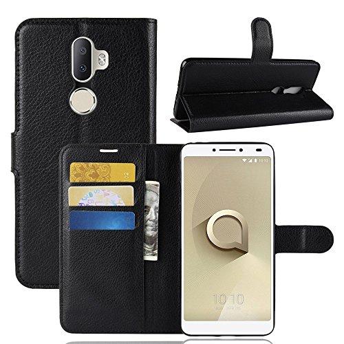 Hülle für Alcatel 3V,Bookstyle Premium PU-Leder klapptasche Case Brieftasche Etui Schutz Handyhülle für Alcatel 3V Schwarz