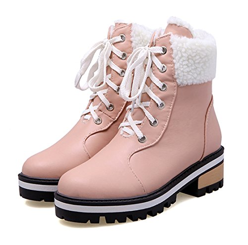 YE Damen Flache Stiefeletten zum schnüren mit Fell 2cm Absatz Blockabsatz Winter Warm gefüttert Stiefel Rosa