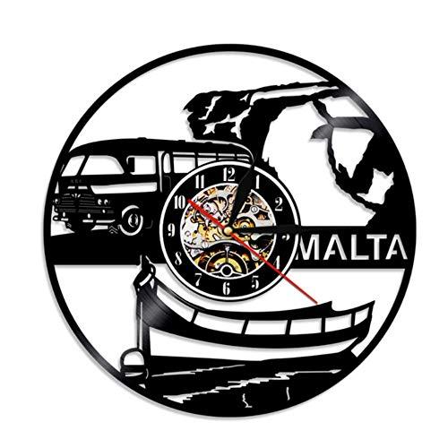 Mddjj 1 Stück Malta Wanduhr Repubblika TA \'Malta Stadtbild Souvenir Skyline Vinyl Record Wanduhr Europäische Reise Wandkunst