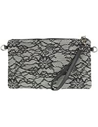 Girly HandBags Italian Suede Leather Lace Clutch Bag