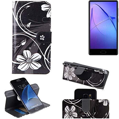 K-S-Trade Schutzhülle für Bluboo S1 Hülle 360° Wallet Case Schutz Hülle ''Flowers'' Smartphone Flip Cover Flipstyle Tasche Handyhülle schwarz-weiß 1x