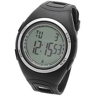 Lad Weather Podómetro Cronómetro Calorías Monitor de Actividad Física Reloj Running Fitness Deportes al Aire Libre (Black)