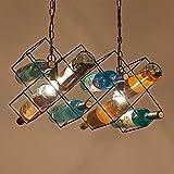 HuiKai Bar Deckenleuchte Weinflasche Kronleuchter Kreative Dekoration Flasche mit Pigment,Long:58cm