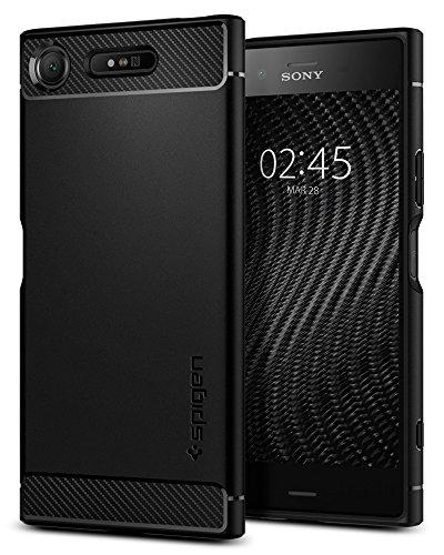 Spigen [Rugged Armor] Sony Xperia XZ1 Hülle (G11CS22411) Stylisch TPU Silikon Robuste Schutzhülle Karbon Design Handyhülle Case (Schwarz)