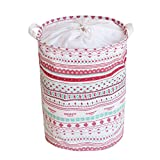 #8: Home Essentials™ Laundry Basket Jute bag with Handle and Rope Drawstring Linen Printed Circles Abstract (15 Inch Height)