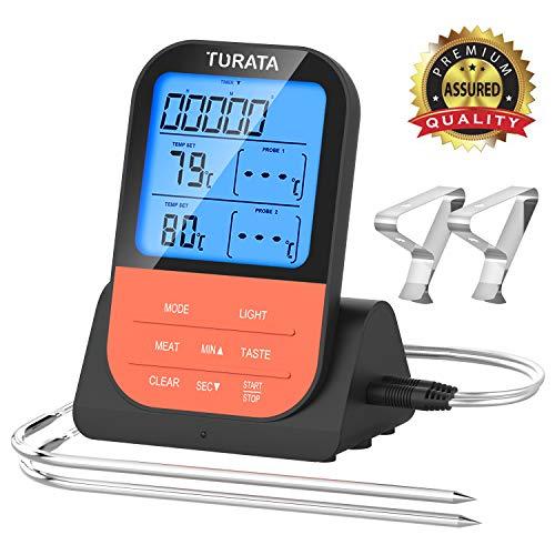 TURATA Fleischthermometer Funk Bratenthermometer mit Zeitmesser, 2 Temperaturfühlern Sonden, Magnetrückwand, Hintergrundbeleuchtung LED Display Sofortiges Auslesen, Digital Grillthermometer (orange)